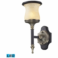 2420/1-LED ELK Lighting Georgian Court 1-Light Wall Lamp in Bronze and Umber with Marbleized Glass - Includes LED Bulb