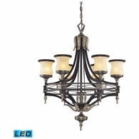 2431/6-LED ELK Lighting Georgian Court 6-Light Chandelier in Bronze and Umber with Marbleized Glass - Includes LED Bulbs