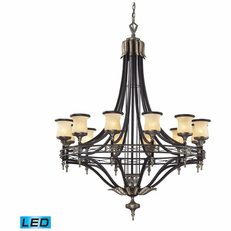 2434/12-LED ELK Lighting Georgian Court 12-Light Chandelier in Bronze and Umber with Marbleized Glass - Includes LED Bulbs
