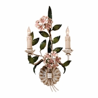 2842 Wildwood Hand Painted Florentine Iron Two Lights Hydrangea Sconce