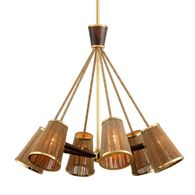 288-06 Corbett Rhodos 6Lt Chandelier with Acacia Wood With Polished Brass Accents Finish
