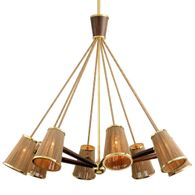 288-08 Corbett Rhodos 8Lt Chandelier with Acacia Wood With Polished Brass Accents Finish