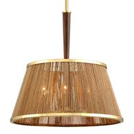 288-46 Corbett Rhodos 6Lt Pendant with Acacia Wood With Polished Brass Accents Finish