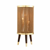 288-93 Corbett Rhodos 3Lt Table Lamp with Acacia Wood With Polished Brass Accents Finish