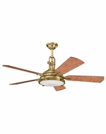 300018BAB Kichler Fans Traditional Burnished Antique Brass 56 Inch Hatteras Bay Fan
