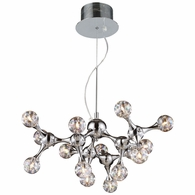 30025/15 ELK Lighting Molecular 15-Light Chandelier in Polished Chrome with Rainbow Glass