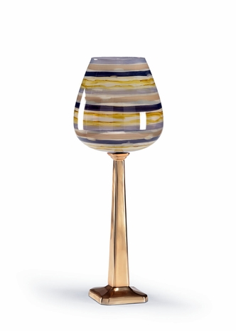 300635 Wildwood Lamps Candleholder With Shade - Blue/Yellow/Gray/Antique Brass Finish