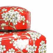 301339 Wildwood Porcelain Red/White Glaze Bough Canister