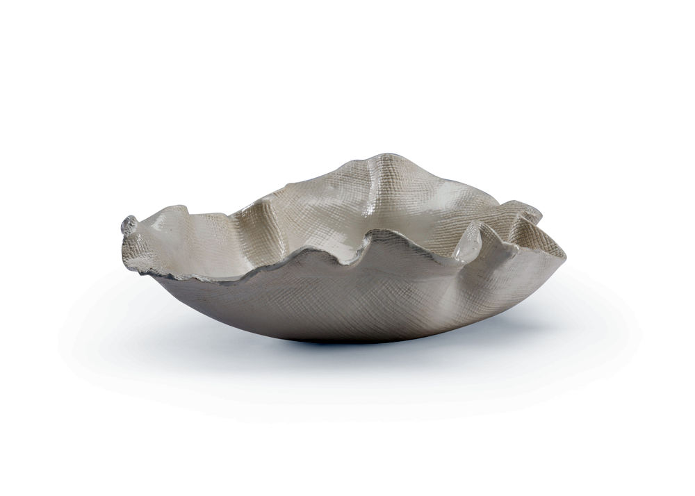 301499 Wildwood Ceramic Textured/White Glaze Freeform Bowl - Textured