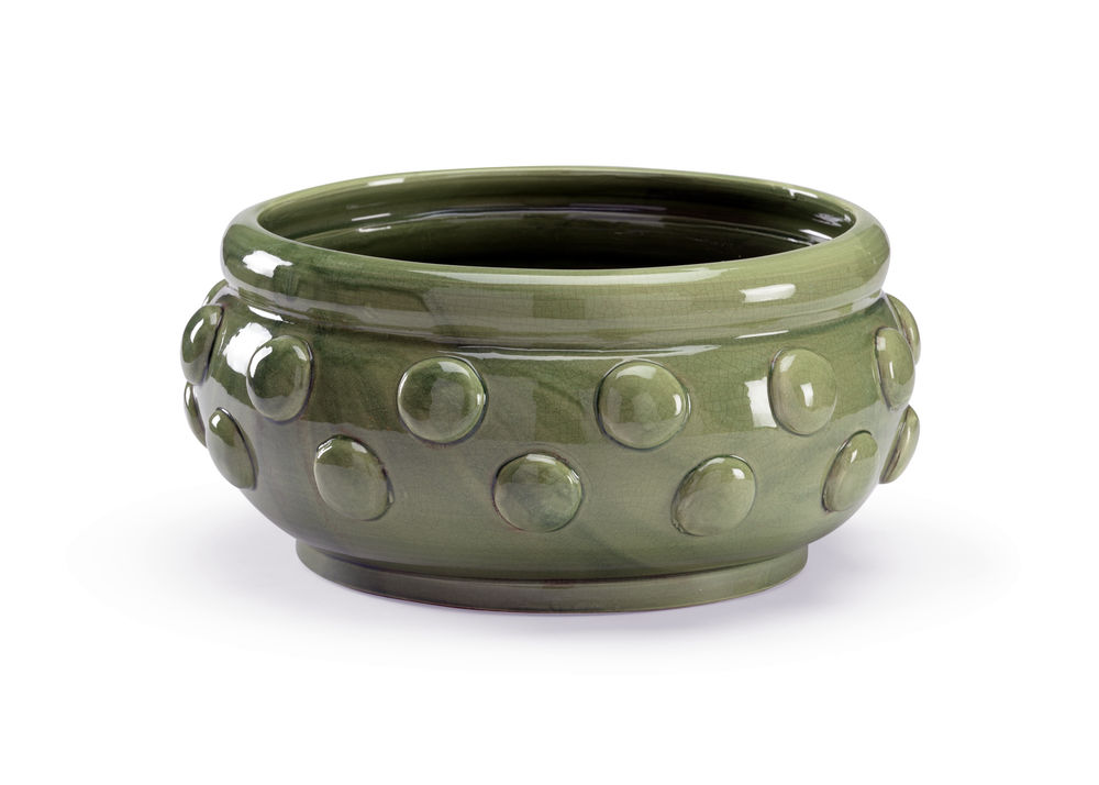 301501 Wildwood Ceramic Green Crackle Glaze Elisa Centerpiece - Green