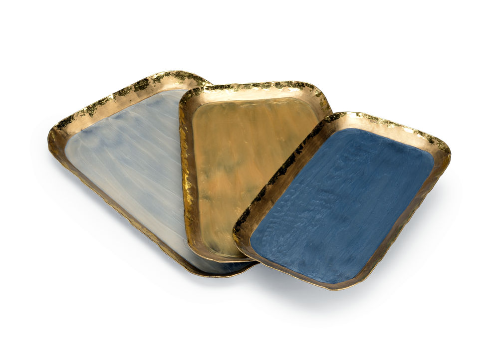 301506 Wildwood Iron Gray/Gold/Pearl Grant Trays (S3)