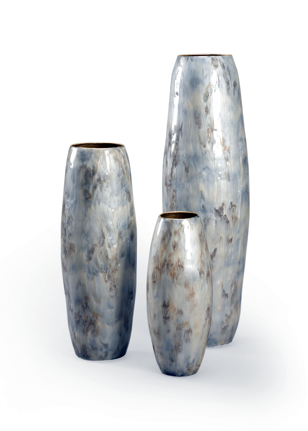 301507 Wildwood Glass Distressed Gray Holt Vases (S3)
