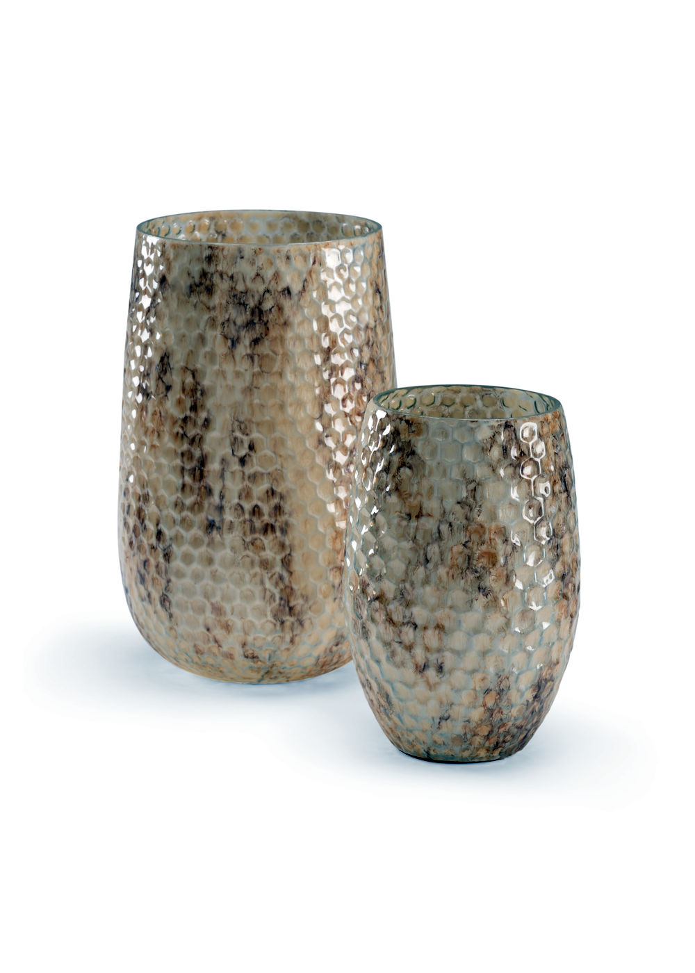 301510 Wildwood Glass Aged Pearl Honeycomb Vases (S2)