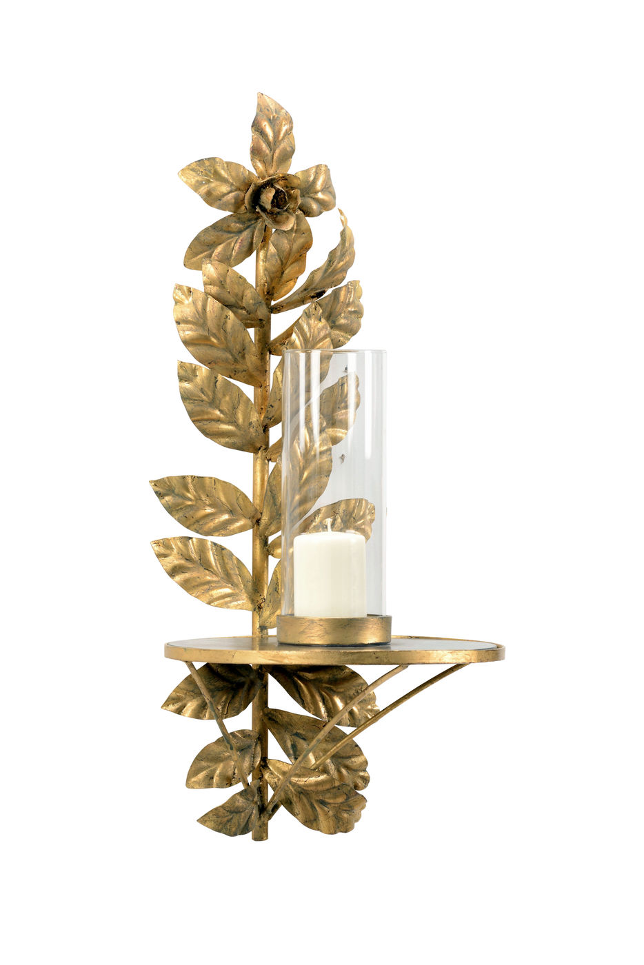 301523 Wildwood Iron/Glass/Mirror Antique Gold Leaf/Clear/Antique Leaves Candle Sconce