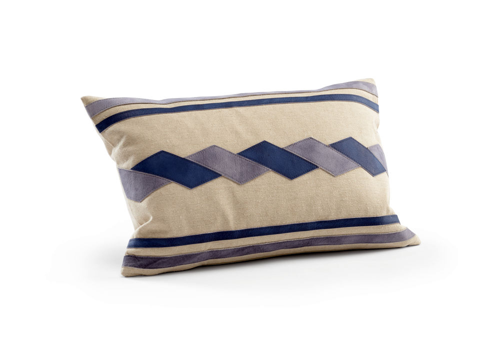 301529 Wildwood Linen/Suede Natural/Blue/Grey Santa Clara Pillow