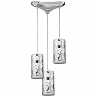 31076/3 ELK Lighting Chromia 3-Light Triangular Pendant Fixture in Polished Chrome with Cylinder Shade