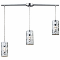 31076/3L ELK Lighting Chromia 3-Light Linear Pendant Fixture in Polished Chrome with Cylinder Shade