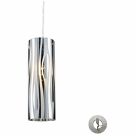 31078/1-LA ELK Lighting Chromia 1-Light Mini Pendant in Polished Chrome with Cylinder Shade - Includes Adapter Kit