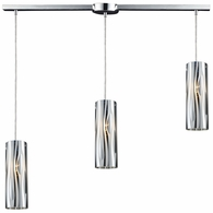 31078/3L ELK Lighting Chromia 3-Light Linear Pendant Fixture in Polished Chrome with Cylinder Shade