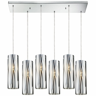 31078/6RC ELK Lighting Chromia 6-Light Rectangular Pendant Fixture in Polished Chrome with Cylinder Shade