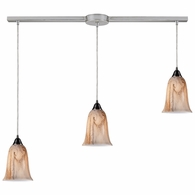 31138/3L ELK Lighting Granite 3-Light Linear Pendant Fixture in Satin Nickel with Marbleized Amber Glass