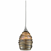 31142/1 ELK Lighting Vines 1-Light Mini Pendant in Satin Nickel with Tan Glass