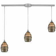 31142/3L ELK Lighting Vines 3-Light Linear Pendant Fixture in Satin Nickel with Tan Glass
