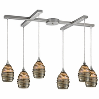 31142/6 ELK Lighting Vines 6-Light H-Bar Pendant Fixture in Satin Nickel with Tan Glass