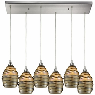 31142/6RC ELK Lighting Vines 6-Light Rectangular Pendant Fixture in Satin Nickel with Tan Glass
