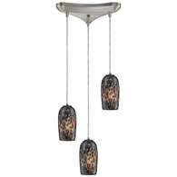 31147/3 ELK Lighting Collage 3-Light Triangular Pendant Fixture in Satin Nickel with Multi-colored Glass