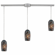 31147/3L ELK Lighting Collage 3-Light Linear Pendant Fixture in Satin Nickel with Multi-colored Glass
