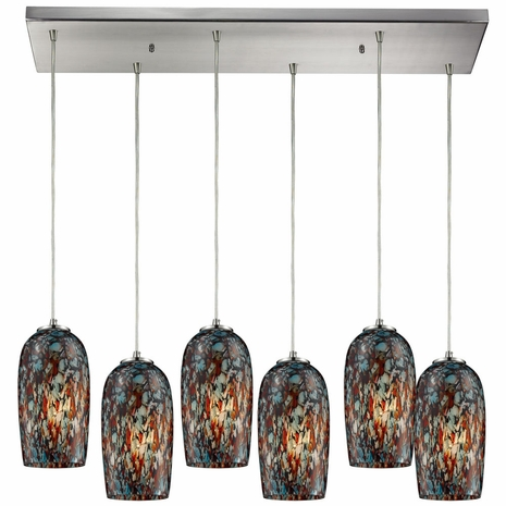 31147/6RC ELK Lighting Collage 6-Light Rectangular Pendant Fixture in Satin Nickel with Multi-colored Glass