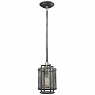 31236/1 ELK Lighting Slatington 1-Light Mini Pendant in Brushed Nickel and Silvered Graphite with Metal Mesh Shade