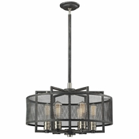 31238/6 ELK Lighting Slatington 6-Light Chandelier in Brushed Nickel and Silvered Graphite with Metal Mesh Shade