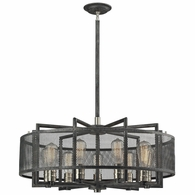31239/9 ELK Lighting Slatington 9-Light Chandelier in Brushed Nickel and Silvered Graphite with Metal Mesh Shade