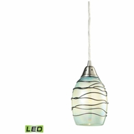 31348/1MN-LED ELK Lighting Vines 1-Light Mini Pendant in Satin Nickel with Mint Glass - Includes LED Bulb