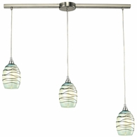 31348/3L-MN ELK Lighting Vines 3-Light Linear Pendant Fixture in Satin Nickel with Mint Glass