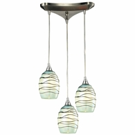 31348/3MN ELK Lighting Vines 3-Light Triangular Pendant Fixture in Satin Nickel with Mint Glass
