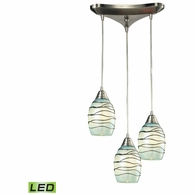 31348/3MN-LED ELK Lighting Vines 3-Light Triangular Pendant Fixture in Satin Nickel with Mint Glass - Includes LED Bulbs