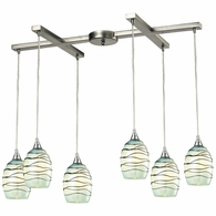 31348/6MN ELK Lighting Vines 6-Light H-Bar Pendant Fixture in Satin Nickel with Mint Glass