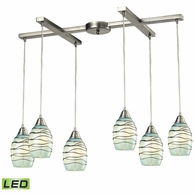31348/6MN-LED ELK Lighting Vines 6-Light H-Bar Pendant Fixture in Satin Nickel with Mint Glass - Includes LED Bulbs