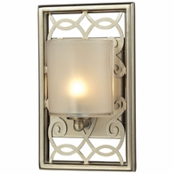 31426/1 ELK Lighting Santa Monica 1-Light Vanity Sconce in Aged Silver with Off-white Glass