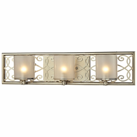 31428/3 ELK Lighting Santa Monica 3-Light Vanity Sconce in Aged Silver with Off-white Glass