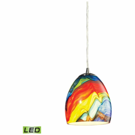 31445/1RB-LED ELK Lighting Colorwave 1-Light Mini Pendant in Satin Nickel with Multi-colored Glass - Includes LED Bulb