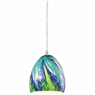 31445/1TB ELK Lighting Colorwave 1-Light Mini Pendant in Satin Nickel with Blue and Green Glass