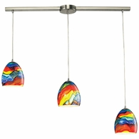 31445/3L-RB ELK Lighting Colorwave 3-Light Linear Pendant Fixture in Satin Nickel with Multi-colored Glass