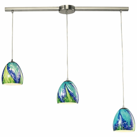 31445/3L-TB ELK Lighting Colorwave 3-Light Linear Pendant Fixture in Satin Nickel with Blue and Green Glass