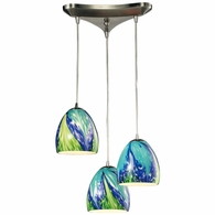 31445/3TB ELK Lighting Colorwave 3-Light Triangular Pendant Fixture in Satin Nickel with Blue and Green Glass