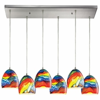 31445/6RC-RB ELK Lighting Colorwave 6-Light Rectangular Pendant Fixture in Satin Nickel with Multi-colored Glass