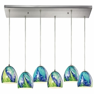 31445/6RC-TB ELK Lighting Colorwave 6-Light Rectangular Pendant Fixture in Satin Nickel with Blue and Green Glass